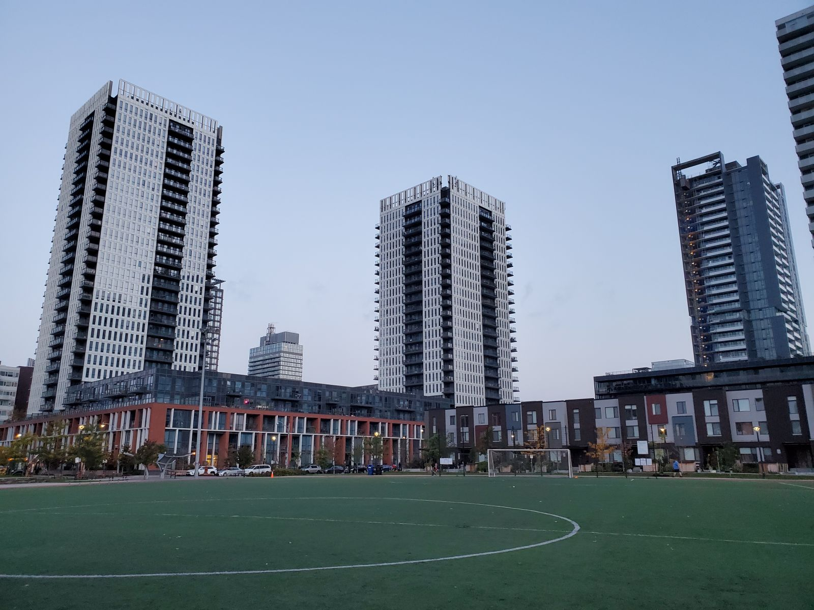Condo towers and park